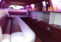 rented a limousine from the inside day, you can see glasses, TV, leather seats hemmed