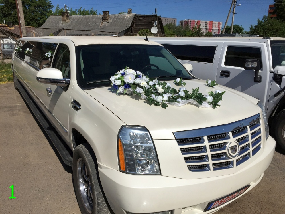 Decoration On A Wedding Car And Limousine Rental